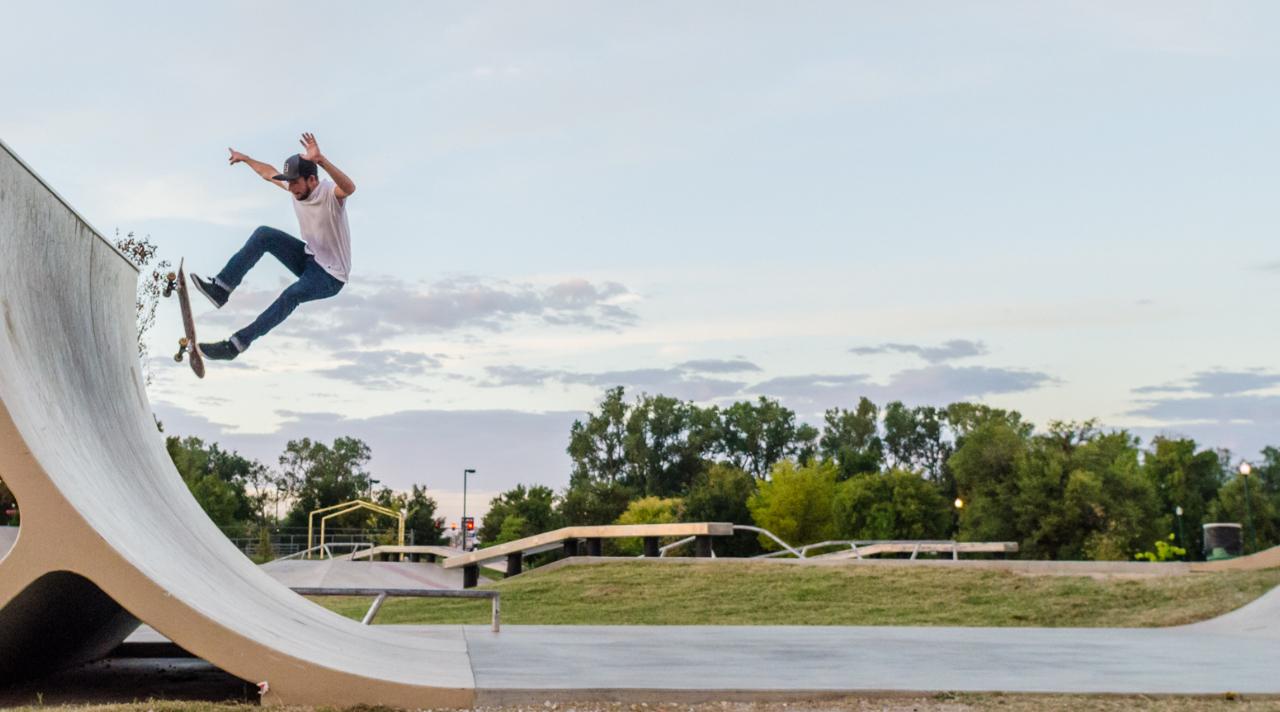 A skateboarder goes up a ramp at Ewert Skate Park in Joplin