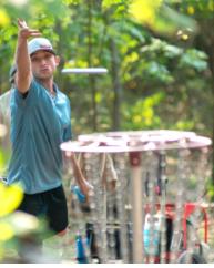 A man plays frisbee golf in Joplin