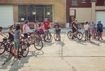 A group of cyclists in downtown Joplin