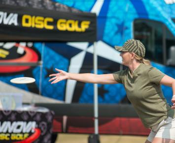 A woman plays disc golf in Joplin
