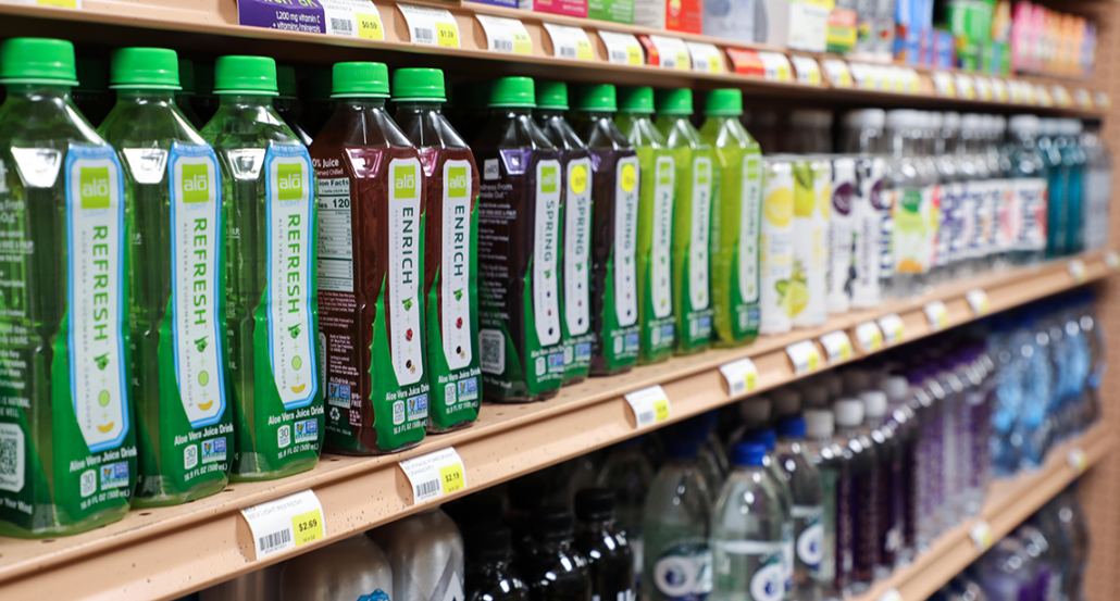 Healthy beverages at a local market